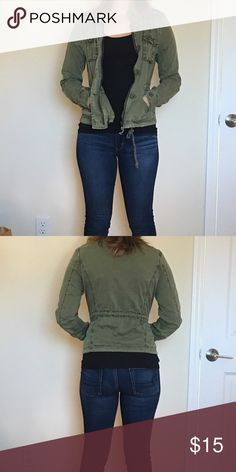 Army green jacket Only worn a handful of times, so it's in great condition. It has adjustable strings in the middle and bottom so you can adjust it. It zips and buttons in the front. It's also pretty lightweight, so perfect for layering and fall Aeropostale Jackets & Coats Utility Jackets