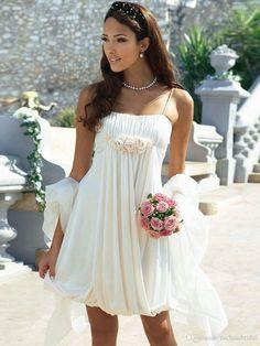 7707edc035d Spaghetti Straps Long Chiffon Beach Wedding Dresses Floor Length Flowy  Country Bridal Dresses with Handmade Flowers