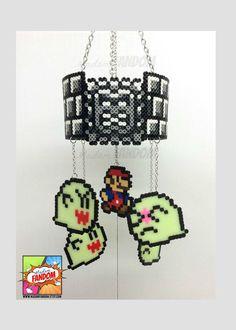 Super Mario Hanging Mobile Geek Decor, Dungeon Theme with Glow-in-the-Dark Boos  perler beads by MadamFANDOM