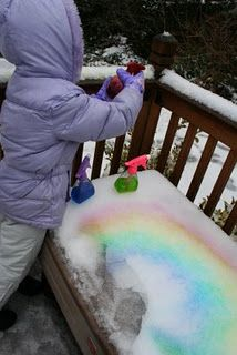 Fill spray bottles with food coloring water to paint snow! From Pink and Green Mama: Crafty Snow Day! Did this with Cohen the other day so much fun :) Craft Activities For Kids, Winter Activities, Toddler Activities, Projects For Kids, Fun Crafts, Crafts For Kids, Arts And Crafts, Snow Fun, Winter Fun