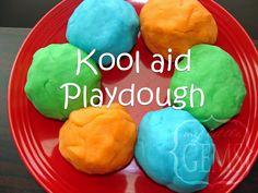 homemade playdough-we also make Christmas playdough, chocolate playdough, pumpkin pie playdough, and more I'll share w/ you later :)