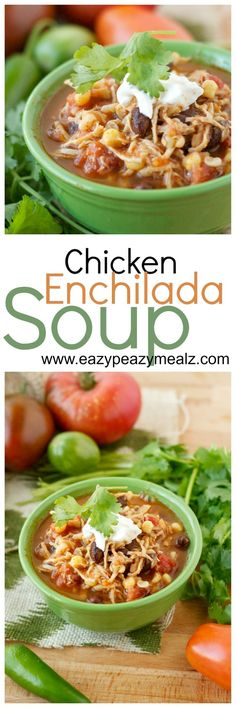 Chicken Enchilada Soup: 5 minutes prep work, and let the slow cooker do the rest of the work. This soup has all the flavor of enchiladas and is comfort food at its finest! - Eazy Peazy Mealz