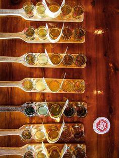 Flights of cider in the tasting room at Citizen Cider, Vermont