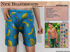 The Sims 4 Nick Boardshorts Sims Baby, Sims 4 Teen, Sims 4 Toddler, Sims Cc, Sims 4 Cc Kids Clothing, Kids Clothes Boys, Toddler Boy Outfits, Kids Outfits, Sims 4 City Living