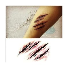 2015 Halloween Makeup Terror Scary Wound Tear the werewolf claw marks... ❤ liked on Polyvore featuring accessories and body art