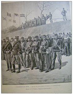 Fransız bariyelileri Hanya'ya girerken/French marines arriving in Canea 1897
