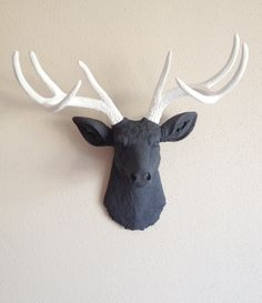 Charcoal and White Deer Head Wall Mount. $130.00, via Etsy.