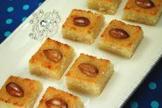 Yummy O Yummy: Basboosa / Basbousa / Semolina Cake – Celebration Time! Greek Sweets, Greek Desserts, Arabic Sweets, Arabic Food, Healthy Cake Recipes, Sweet Recipes, Dessert Recipes, Dessert Ideas, Rose Syrup Recipe