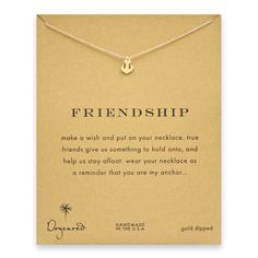 "Friendship smooth anchor necklace - Dogeared ""All aboard Dogeared's favorite ship. Friendship! OK, sorry about the cheesy nautical reference. But it is true that our friends help us navigate the waters of life and get us where we need to go, a sentiment we have chosen to express via this very cool anchor charm necklace. An absolutely perfect gift from one friend to another, it's a reminder that you couldn't wish for a better friend..."""