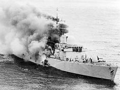 HMS Sheffield Destroyer burning after being hit by an Exocet Missile