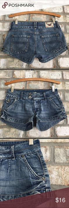 "YMI DISTRESS MICRO MINI DENIM SHORTS 5 Super sexy low rise, micro mini, distress denim shorts. 82% cotton, 15% polyester, 2% spandex, machine washable fabric. Inseam  2"", waist approx. 28"". Wonderful condition YMI Shorts Jean Shorts"