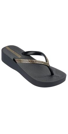 Perfect for your summer wardrobe, these gorgeous flip flops from Ipanema come in black with a wreath inspired design on the strap in gold. Sexy Sandals, Shoes Heels Wedges, Gold Sandals, Black Sandals, Shoes Sandals, Gold Flip Flops, Wedge Flip Flops, Black And Gold Shoes, Black Gold