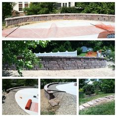 Keystone Retaining Wall, Natural Steps, & River Gravel Installation around in ground swimming pool.