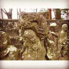 Luohan with a dragon. #kawagoe #temple #japantravel #ruins #cemetery #graveyard
