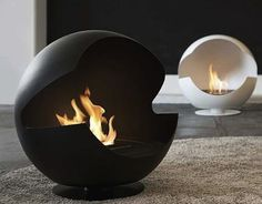"""Bio Ethanol Fireplaces by Vauni """"Globe is a flueless designed fireplace that combines tradition with classic form in a modern interpretation and will enhance any modern outdoor or indoor scheme. Bioethanol Fireplace, Modern Fireplace, Fireplace Wall, Fireplace Design, Fireplace Ideas, Stone Fireplaces, Portable Fireplace, Hearth, Home Interior Design"""