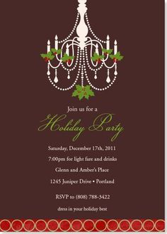 Holiday Party Invitations - Christmas Chandelier Party Invitation