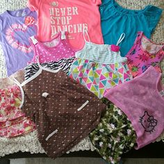 9pc girls clothes bundle 9pc girls bundle size 6 and 6/6x. Brown tank has a tiny hole but other than that they are no other holes or stains. Great bundle for spring and summer weather! ;) Other