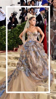 Ariana Grande wearing a Vera Wang dress at the 2018 Met Gala Ariana Grande Vestidos, Ariana Grande Fotos, Ariana Grande Outfits, Ariana Grande Pictures, Gala Dresses, Red Carpet Dresses, Ariana Grande Wallpaper, Vera Wang Dress, Silk Organza