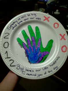 Dollar store plate, then buy acrylic paint or ceramic paint (make sure you can bake the paint to ensure the paint doesn't chip) I traced my kids hands on paper then cut then out and traced it onto the plate then it was time to paint. It was a great gift for Christmas for all the grandparents!