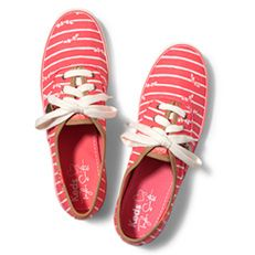 Keds Taylor Swift's Champion Bow Stripe  - Dressed up or down, these striped stunners will pair perfectly. Style inspired by Taylor Swift, Taylor Swift charm included, Printed twill upper, Lace up sneaker, Soft breathable lining, Cushioned insole, Flexible, textured rubber outsole,  Part of the Taylor Swift for Keds Collection. Periwinkle, coral, cream, yellow, navy. $55