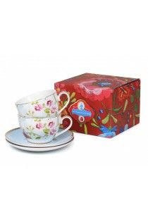 be3ec2b8e31 Pip Studio Set/2 White Cup and Saucers Chinese Rose Gift Set Rose Gift,