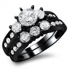 14k Black Gold Round Engagement Ring Bridal Set - Unusual Engagement Rings Review