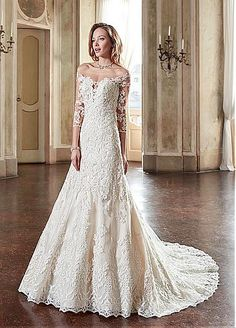 Lavish Tulle & Satin Off-the-shoulder Neckline A-Line Wedding Dresses With…