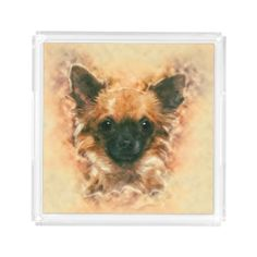 Watercolor art Chihuahua Painting Acrylic Tray - home gifts ideas decor special unique custom individual customized individualized