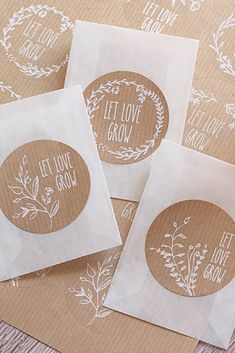 Lovely Doodle Wedding Brown Sticker Labels for Party Bag Sweet Cones