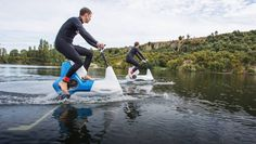The hydrofoil bike doesn't have wheels, but it can fly.