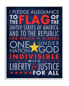 The Kids Room The Pledge of Allegiance Typography Wall Plaque
