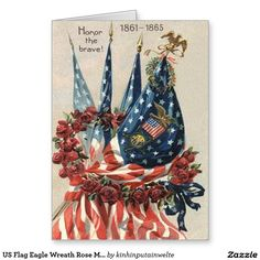 US Flag Eagle Wreath Rose Memorial Day Greeting Card