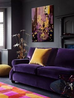 Tips That Help You Get The Best Leather Sofa Deal. Leather sofas and leather couch sets are available in a diversity of colors and styles. A leather couch is the ideal way to improve a space's design and th Colourful Living Room, Eclectic Living Room, Living Room Grey, Living Room Sofa, Living Room Designs, Living Room Decor, Purple Living Rooms, Pallet Ideas, Harmony Design