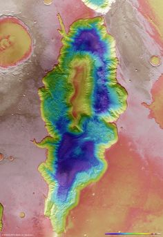 This region of Mars was imaged by the High Resolution Stereo Camera on ESA's Mars Express-Hebes Chasma topography