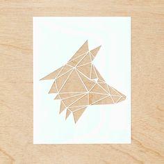 Hand-Cut Papercutting Artwork - Geometric Fox Head by lightpaper on Etsy https://www.etsy.com/listing/212081587/hand-cut-papercutting-artwork-geometric