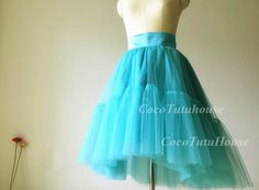 Terquoise Blue/Teal Hi Low Tulle Skirt /Adult by CocoTutuhouse