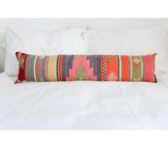Turkish Kilim Lumbar Pillow // Orange, pink, yellow, purple, perwinkle, green // DOWN FEATHER // Aztec, Navajo, Southwestern by ISIMOco on Etsy https://www.etsy.com/listing/211658621/turkish-kilim-lumbar-pillow-orange-pink