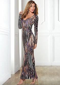 Brown Multi Printed Long Dress | VENUS