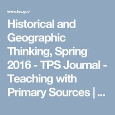 Historical And Geographic Thinking Spring 2016