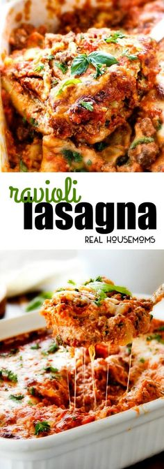 Hearty, comforting Ravioli Lasagna is what cheesy dreams are made of! Get ready to fall in love! via @realhousemoms
