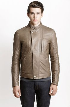 Quilted Sleeve Leather Jacket - Jackets & Blazers - Mens - Armani Exchange