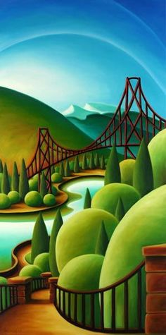 """""""Prospect Point"""" by Dana Irving Landscape Art, Landscape Paintings, Illustrations, Illustration Art, Canadian Art, Naive Art, Art For Art Sake, Whimsical Art, Flat Design"""