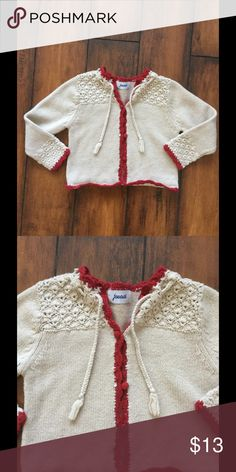 Cute fall baby sweater Tan and red sweater by Jacadi! Preloved by my baby girl Jacadi Jackets & Coats