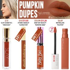Kylie Cosmetics Pumpkin Liquid Lipstick Dupes - Make-Up Lipgloss, Lipstick Swatches, Makeup Lipstick, Eye Makeup, Kylie Lipstick, Kylie Dupes, Lipstick Sets, Cheap Lipstick, Lipsticks