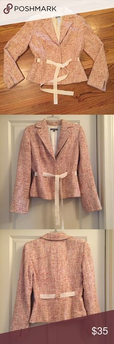 Ann Taylor Pink Tweed Tie Jacket Ann Taylor pink Tweed tie jacket. Size 4 and very elegant. Great for Easter and spring. Wear it with a pair of white slacks or a cute dress. It will dress up any outfit. It is made with 43% acrylic, 23% cotton, 22% rayon, 6% Linen and 6% nylon. Ann Taylor Jackets & Coats