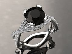 Natural Black Diamond Engagement Ring Black by WinterFineJewelry