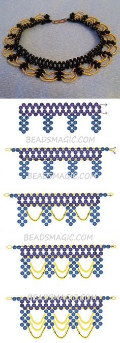 Free pattern for necklace Opera seed beads 11/0 round beads 4-6 mm