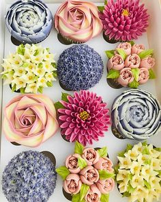 Buttercream cupcakes that look like a variety of flowers but are completely edible