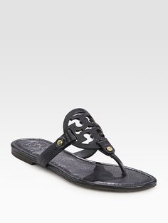Tory Burch Miller Leather Logo Thong Sandals... Looks like a spring addition