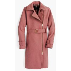 J.Crew Belted Zip Trench Coat (6.175 ARS) ❤ liked on Polyvore featuring outerwear, coats, asymmetrical zip coat, red trench coat, zip coat, asymmetrical zipper coat and lined trench coat